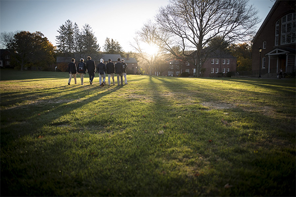 Trinity-Pawling students walking on the Quad