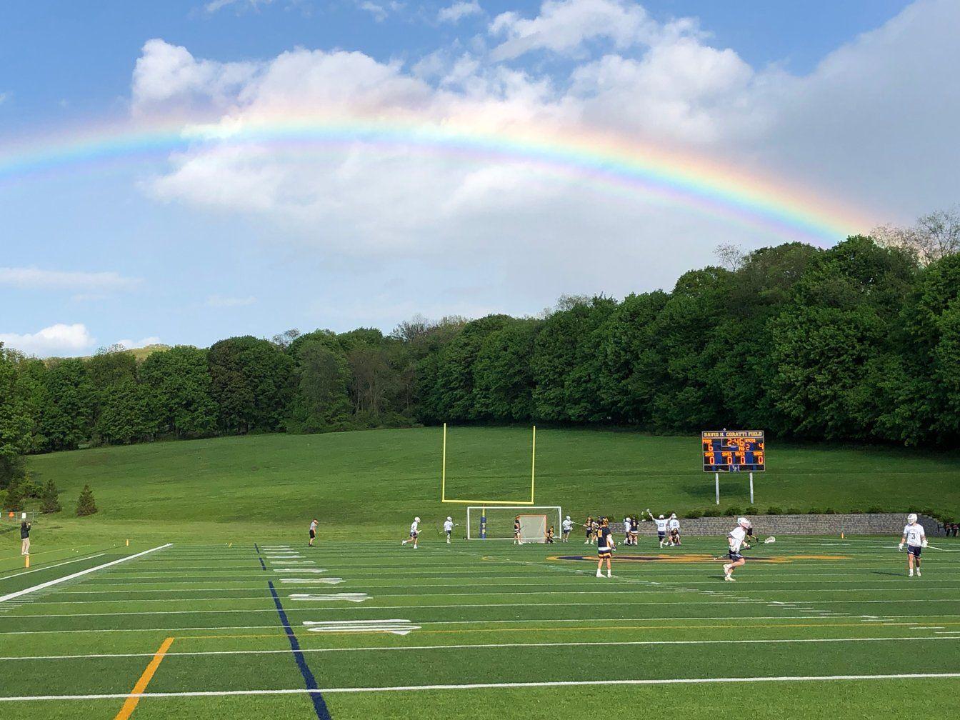 Rainbow over Coratti Field during Pride Football