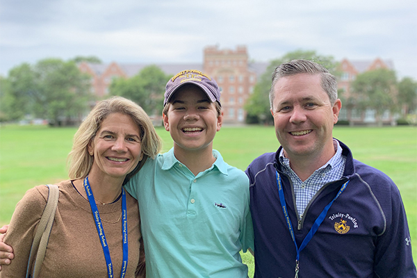 Matt Dealy '92 with his family at Trinity-Pawling School