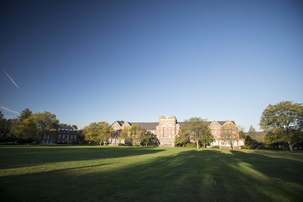 Trinity-Pawling School view of Cluett across the quad