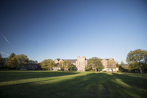 Trinity-Pawling School view of Cluett across the quad
