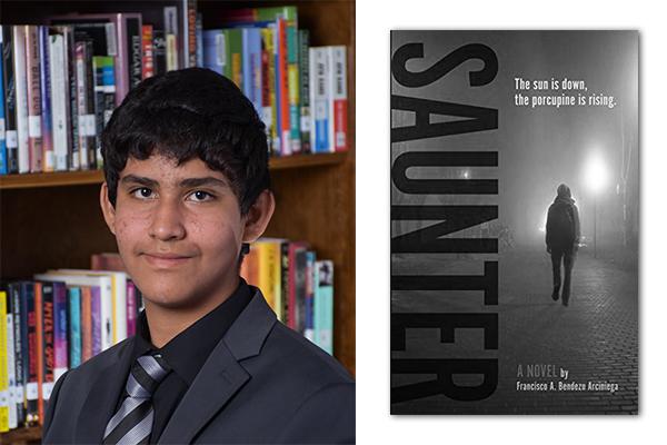 Trinity-Pawling student Francisco Bendezu '22 and his book Saunter