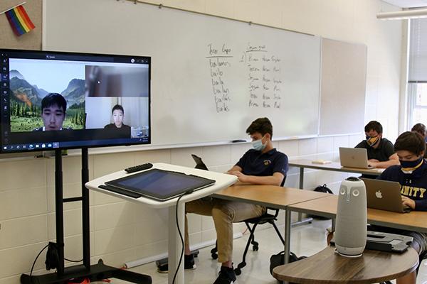 A hybrid classroom at Trinity-Pawling School