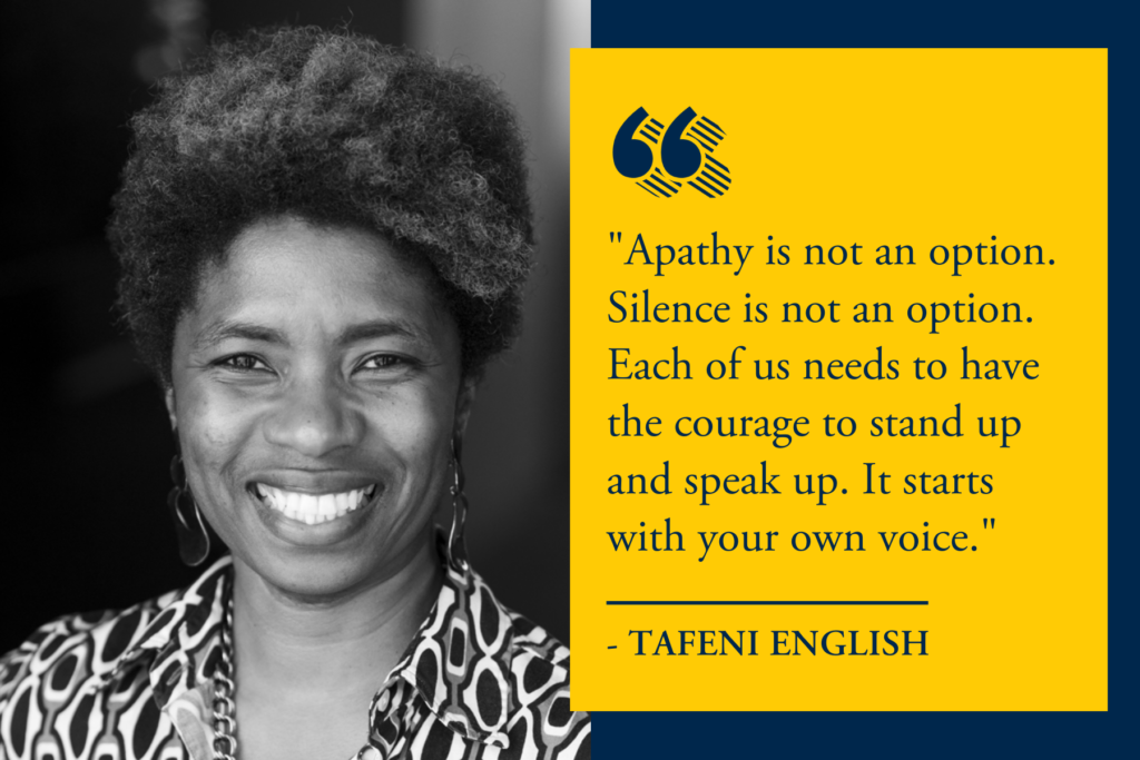 Tafeni English quote from her presentation at Trinity-Pawling